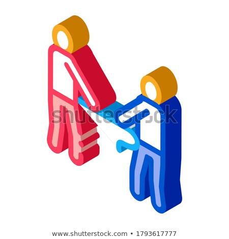 Háború csata izometrikus ikon vektor felirat Stock fotó © pikepicture