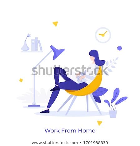 Freelancer comfortabel werkplek vector metafoor zakenman Stockfoto © RAStudio