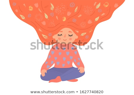 Yoga meditating cute girl in Lotus Flower isolated on white