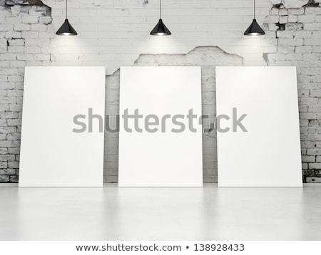 three frames on brick white wall Stock photo © Paha_L