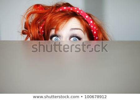 shy funny woman Stock photo © smithore