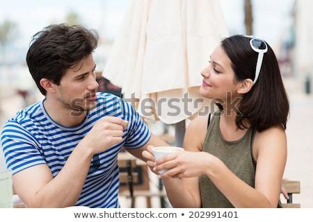 Nő férfi beszél testbeszéd megbeszélés test Stock fotó © izakowski