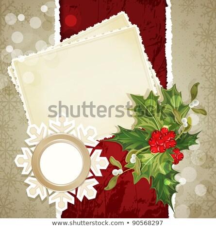 bağbozumu · Retro · Noel · avrupa · yırtık · kağıt · iki - stok fotoğraf © Alkestida
