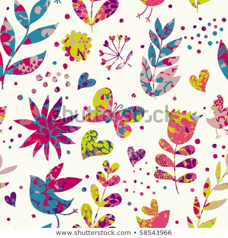 Stock photo: pretty birds butterflies and flowers childrens illustration