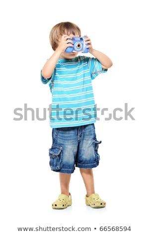 небольшой · мальчика · цифровая · камера · белый · ребенка · волос - Сток-фото © dacasdo