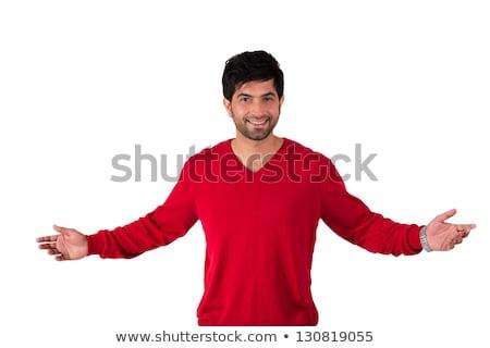 ストックフォト: カジュアル · 男 · セーター · 小さな · 会話 · グレー