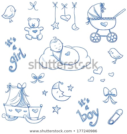 Stock photo: Blue baby stroller for boy
