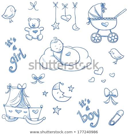 Mavi bebek erkek doku mutlu çocuk Stok fotoğraf © gladiolus