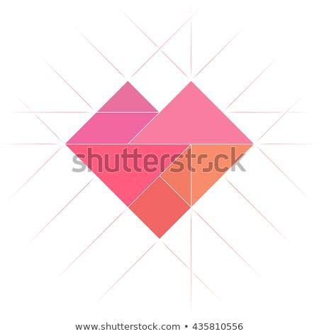 Quebra-cabeça coração ícone flor quadro teia Foto stock © gladiolus