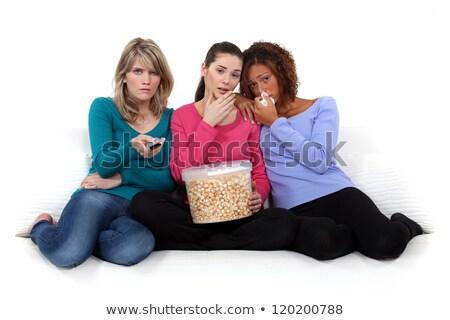 lányok · néz · szomorú · film · kereszt · barátok - stock fotó © photography33