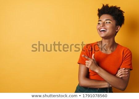 Vrouw wijzend lachend haren grappig lachen Stockfoto © photography33