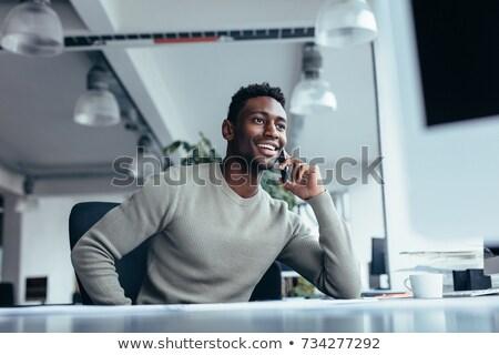 Foto stock: Jovem · empresário · chamar · negócio · trabalhar
