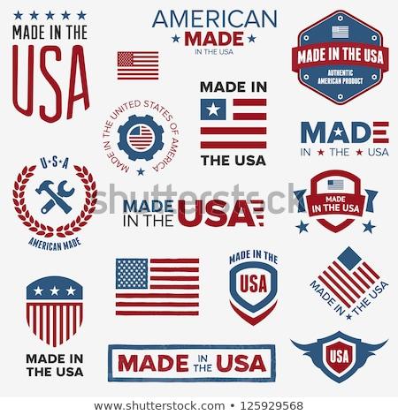Stok fotoğraf: Vector Badge With American Flag