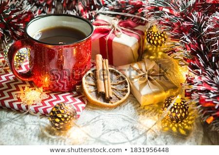 christmas · czerwony · dekoracji · piłka · szkła · tle - zdjęcia stock © Arsgera