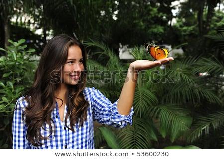 papillon · séance · main · jeune · femme · forêt · fille - photo stock © mangostock