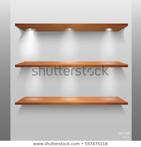 Vector wooden empty realistic bookshelf Stock photo © orson