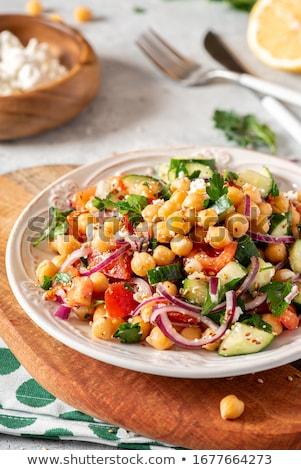 Saláta ebéd friss bab táplálkozás frissesség Stock fotó © M-studio