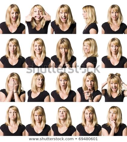 Genç kadın yüz ifadeler kız eğlence Stok fotoğraf © pedromonteiro