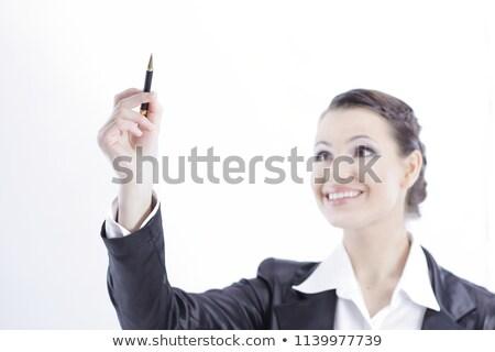 довольно · девушки · карандашом · книгах · стороны - Сток-фото © stockyimages