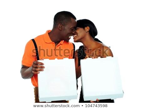 preto · casal · beijando · pizza · caixas - foto stock © stockyimages
