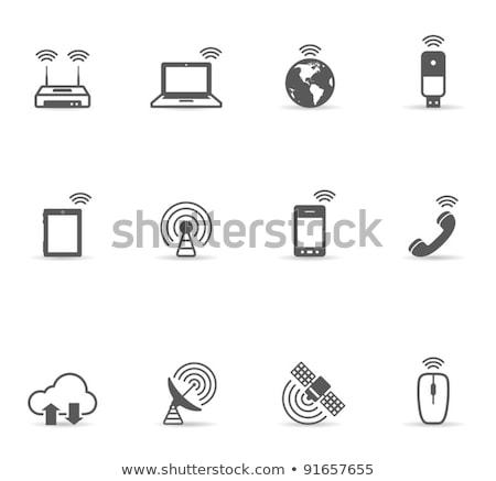 Feltöltés internet felhő ikon laptop globális világ Stock fotó © fenton