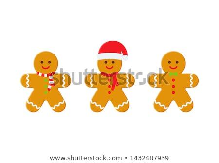 Rajz mézeskalács ember mikulás kalap karácsony desszert Stock fotó © komodoempire
