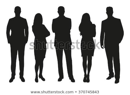 Insanlar siluetleri iş adamları oturma siyah beyaz iş Stok fotoğraf © samsem