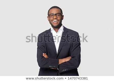 feliz · jovem · africano · homem · de · negócios · risonho · cinza - foto stock © get4net