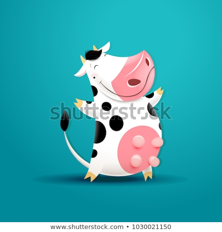 funny cow cartoon stock photo © dagadu