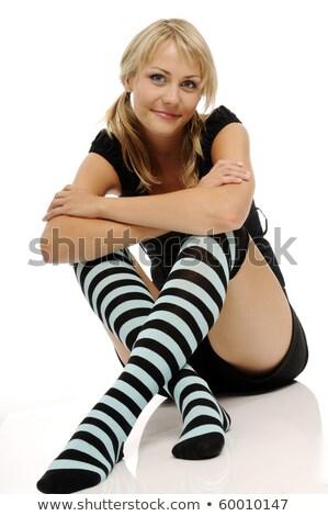 megnyerő · szőke · hölgy · fehér · zokni · izolált - stock fotó © acidgrey