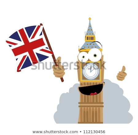 funny · Big · Ben · bandera · vector · Cartoon - foto stock © pcanzo