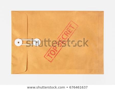 Foto stock: Topo · segredo · envelope · ver · militar · carimbo