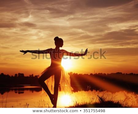 バレエダンサー 日没 屋外 シルエット 女性 少女 ストックフォト © tobkatrina
