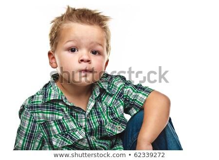 Foto stock: Adorável · pequeno · menino · olhando · pensativo · humor