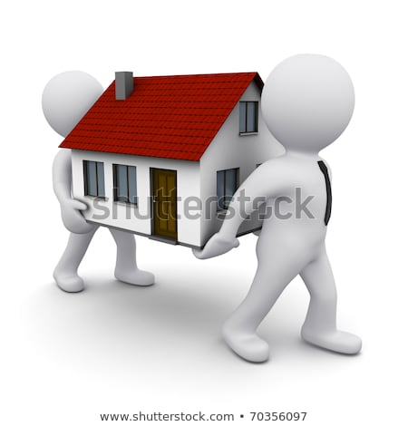 Stock photo: 3D People Man with House