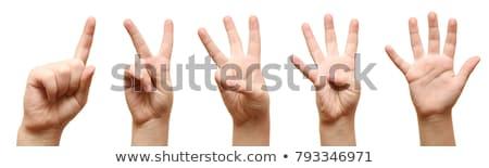 Férfi kéz mutat szám öt pálma Stock fotó © Len44ik