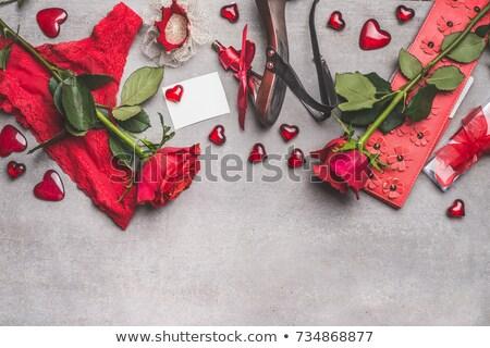 Calcinhas vermelho coração símbolo isolado branco Foto stock © Grazvydas
