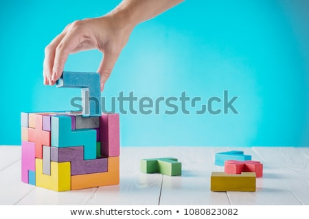 solução · palavra · mão · azul · quebra-cabeça - foto stock © 3mc