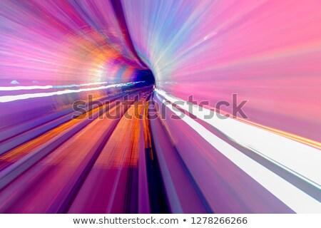 Rosa azul trilho abstrato subterrâneo ferrovia Foto stock © billperry