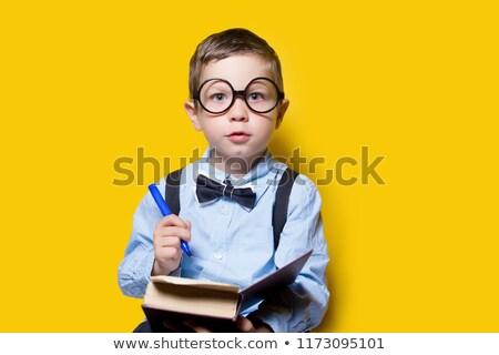 Okos fiú tart könyvek izolált fehér Stock fotó © badmanproduction