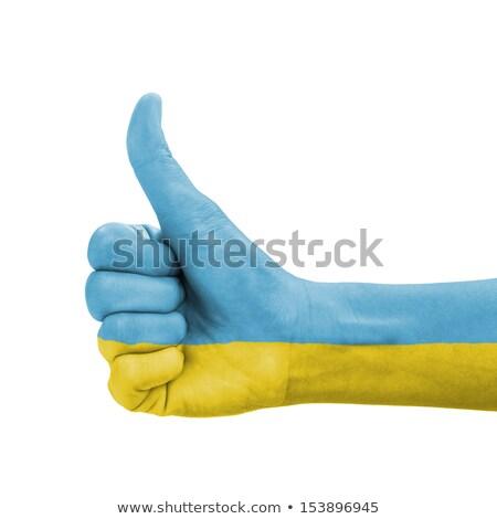 ウクライナ フラグ 親指 アップ ジェスチャー 卓越 ストックフォト © vepar5