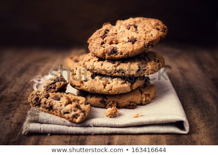 Stacked Brown Cookies On Rustic Background stock photo © ryhor