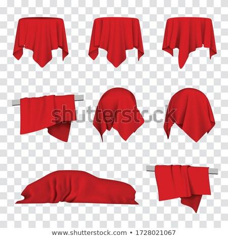 окна · покрытый · красный · ткань · оказывать · студию - Сток-фото © cherezoff