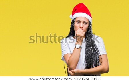 Stressed, overwhelmed young christmas woman Stock photo © ichiosea