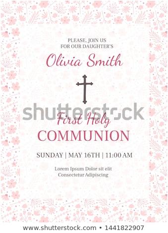 cute pink communion card invitation girl Stock photo © marimorena