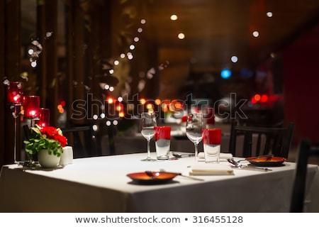 очки · вино · искусственное · освещение · стекла · оранжевый · зима - Сток-фото © belahoche