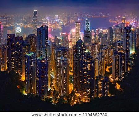 Hong Kong view from Victoria Peak to the bay and the illuminated Stock photo © meinzahn