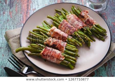 Groene bonen spek groene diner tomaat plantaardige Stockfoto © M-studio