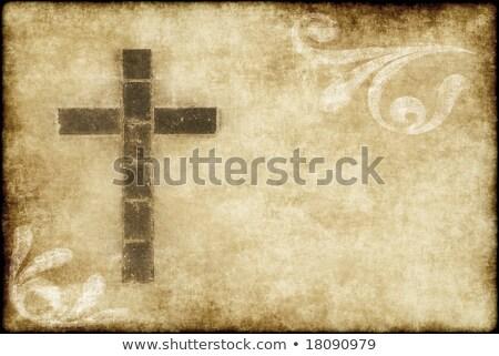 Christian cross on parchment Stock photo © stevanovicigor