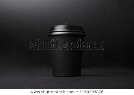 Beker zwarte koffie stukken suikerriet koffiebonen rond Stockfoto © adam121
